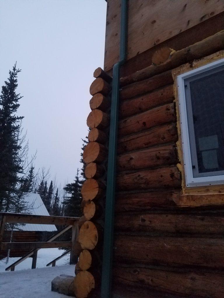 Closeup of log cabin